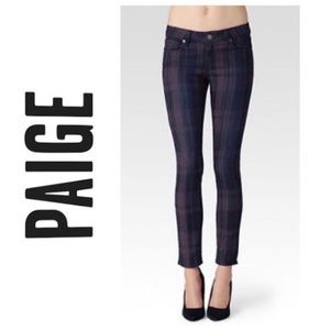 PAIGE Indio Zip Ankle Jeans in Plaid